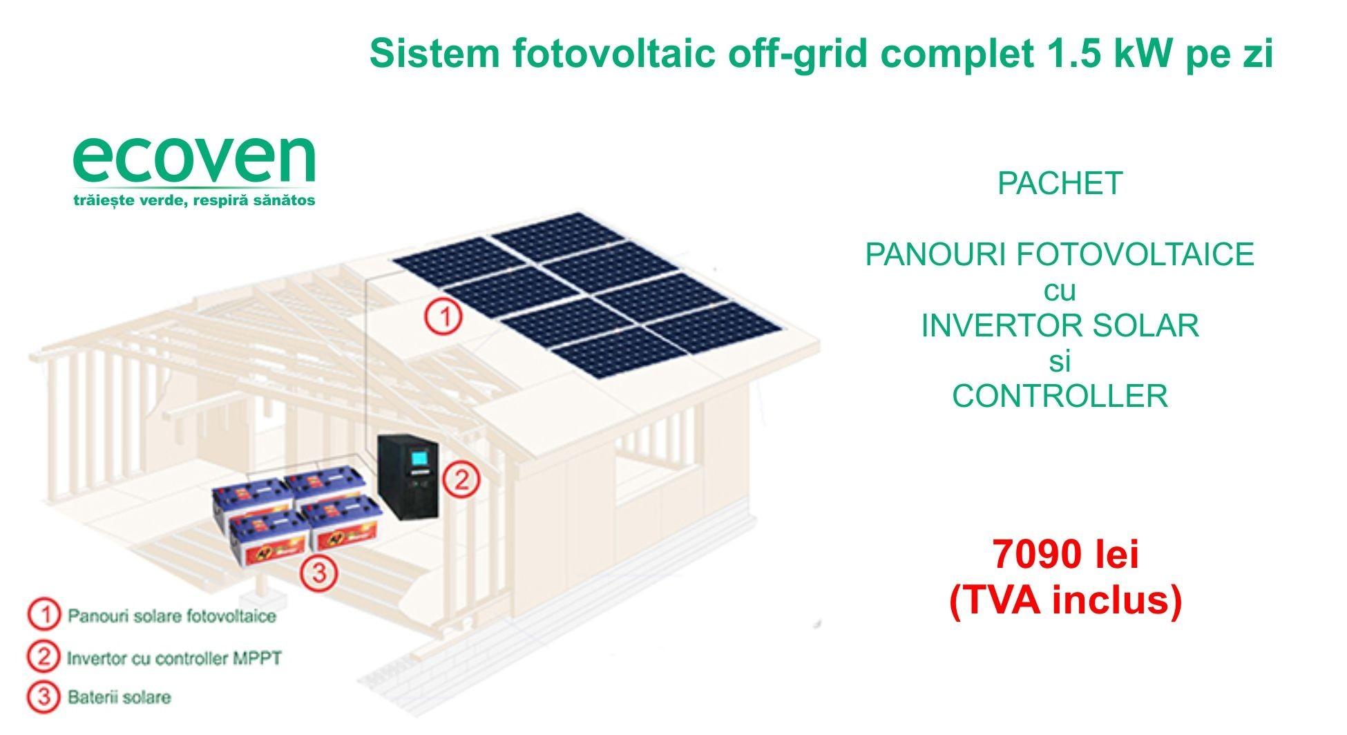 Sistem fotovoltaic off grid 15 kw pe zi