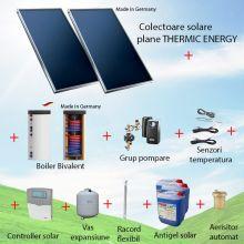 Pachet panouri solare plane 2 x 2.05 mp Thermic Energy FK 206 ME-2A-SW cu boiler bivalent de 200 litri
