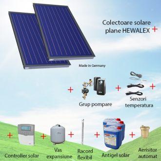 Pachet panouri solare plane 2 x 2.56 mp Hewalex KS2400 TLP AC fara boiler solar