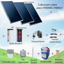 Pachet panouri solare plane 3 x 2.05 mp Thermic Energy FK 206 ME-2A-SW cu boiler bivalent de 300 litri