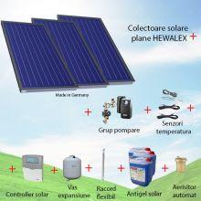 Pachet panouri solare plane 3 x 2.09 mp Hewalex KS2100 TLP AC fara boiler solar