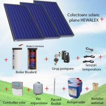 Pachet panouri solare plane 3 x 2.09 mp Hewalex KS2100 TLP AC cu boiler bivalent de 300 litri