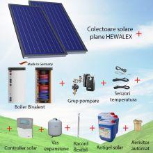 Pachet panouri solare plane 2 x 2.56 mp Hewalex KS2400 TLP AC cu boiler bivalent de 200 litri