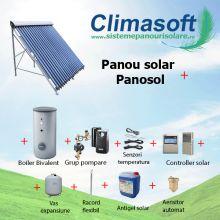 Panou solar kit 15 tuburi vidate cu boiler bivalent 120 litri