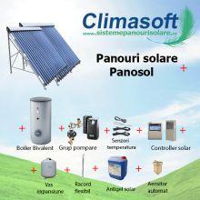 Panou solar kit Panosol cu 2 x 30 tuburi vidate si boiler bivalent 500 litri
