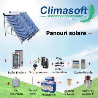 Pachet panouri solare 2 x 30 tuburi vidate cu boiler bivalent 500 litri pentru PENSIUNI/ HOTELURI - 10 persoane