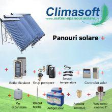 Pachet Panosol panouri solare 3 x 30 tuburi vidate cu boiler bivalent 750 litri pentru PENSIUNI/ HOTELURI - 15 persoane