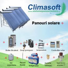 Pachet Sontec SPA panouri solare 4 x 30 tuburi vidate cu boiler bivalent 1000 litri pentru PENSIUNI/ HOTELURI - 20 persoane