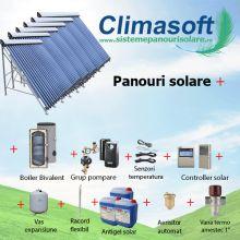 Pachet Sontec SPA panouri solare 6 x 30 tuburi vidate cu boiler bivalent 1500 litri pentru PENSIUNI/ HOTELURI - 30 persoane