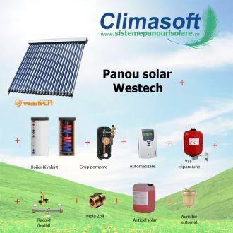 Pachet panou solar Westech SP58-1800A-30 cu 30 tuburi vidate si boiler bivalent 300 litri