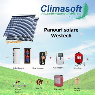 Pachet panouri solare Westech SP58-1800A cu 30 si 20 tuburi vidate si boiler bivalent 400 litri