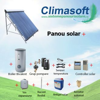 Pachet panou solar Helis 15 tuburi vidate heat-pipe cu boiler bivalent 150 litri